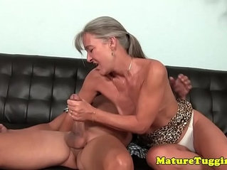 Tanlined gilf strokes cock with passion