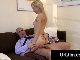 Young gorgeous blonde gets hardcore fucked by big old cock