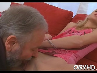 Old dude fucks young moist pussy