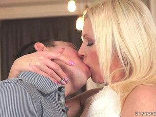 Stunning mature Franny on a young cock